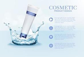 contenitore per tubo crema cosmetica sul blu con spruzzi d'acqua