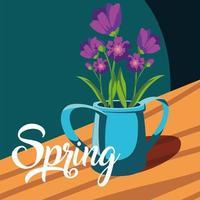 carta di primavera con bellissimi fiori in vaso vettore