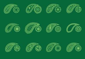 Set di cachemire su sfondo verde vettore