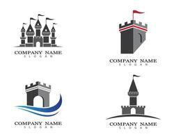 set di immagini del logo del castello vettore