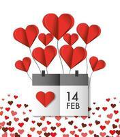 palloncini cuore con calendario per San Valentino