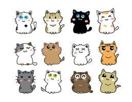 set di gatti simpatico cartone animato vettore