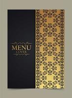elegante design dorato della copertina del menu