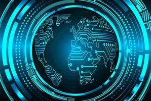 sfondo tecnologia del futuro circuito cyber mondo blu vettore