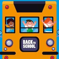 bambini felici studenti carini nello scuolabus vettore