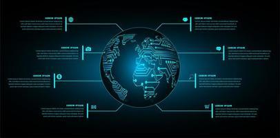 concetto di tecnologia futura del circuito binario del mondo vettore