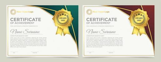 set diploma premio di appartenenza. vettore