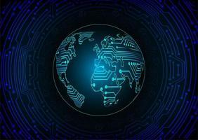 fondo di concetto di tecnologia del circuito cyber del mondo blu vettore