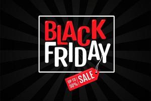 etichetta promozionale con una vendita di prodotti durante il venerdì nero vettore