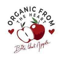 disegno di lettering mela biologica vettore