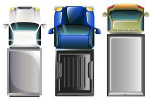 serie di camion visti dall'alto vettore