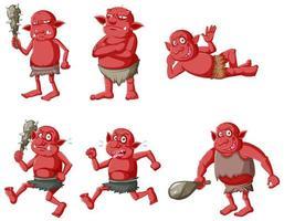 set di personaggi dei cartoni animati di goblin o troll rossi