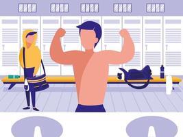 uomini a posto con armadietto della palestra sportiva