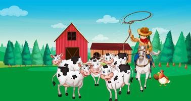 scena di fattoria con animali e contadino