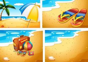 set di scene di spiaggia estiva vettore