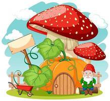 gnomi e casa dei funghi di zucca