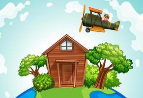 aereo in volo sopra una casa in legno