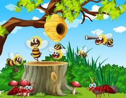 molte api e formiche che vivono nella scena del giardino con il favo vettore