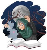 vecchia strega con incantesimo e libro