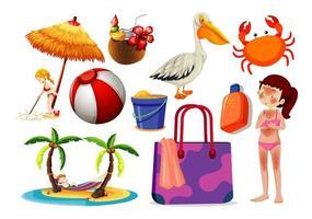 set di icone di estate e spiaggia