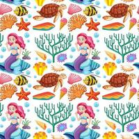 sirena e animali marini