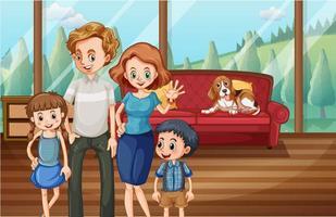 famiglia felice a casa vettore