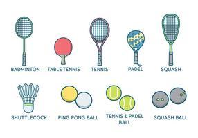 Vettore di racchette e palloni sportivi