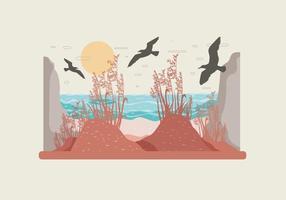Vettore del paesaggio dell'avena del mare