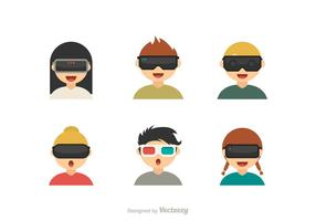 Bambini vettoriali gratis con le icone dei vetri di realtà virtuale