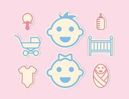 mini icone del bambino impostate vettore