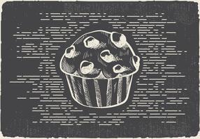 Fondo di vettore del muffin disegnato a mano libera