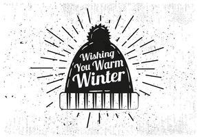 Fondo di vettore del cappello di inverno disegnato a mano libera