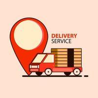 concetto di consegna di cibo in stile piatto con camion vettore