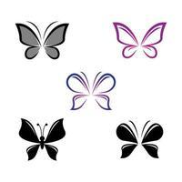 set di icone di bellezza farfalla
