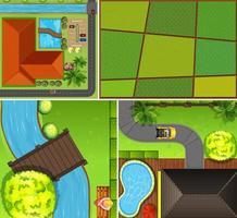 set di fattoria aerea e scena del fiume