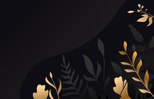 fiore d'oro su sfondo nero vettore