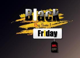 disegno vettoriale venerdì nero tono nero e giallo per uso promozione e promozioni.