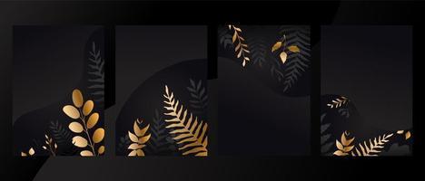 set con invito carta design foglie d'oro vettore