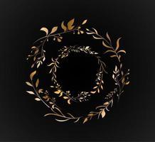 set floreale con foglie d'oro a doppio cerchio vettore