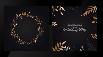 invitare il design di carte con foglie d'oro vettore