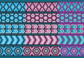 Nastri Huichol blu e rosa vettore