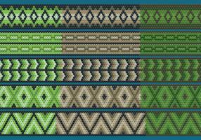 Nastri Huichol verdi e marroni