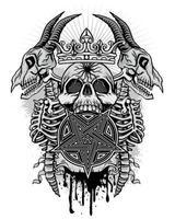 teschio grunge con scheletri di capra e pentagramma vettore