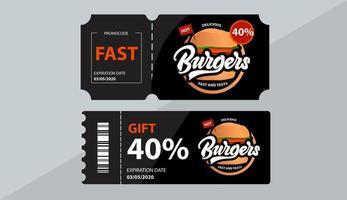buoni regalo hamburger con vendita di codici promozionali vettore