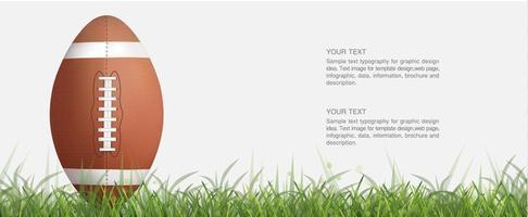 pallone da calcio o rugby verticale in erba verde vettore