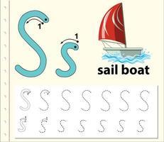 foglio di lavoro alfabeto tracciamento lettera s con barca a vela vettore