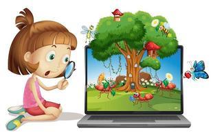 fata cartone animato insetto sullo sfondo del computer
