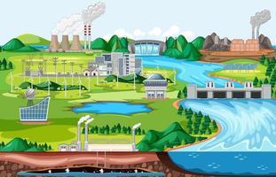 capannone industriale con scena del paesaggio sul lato del fiume vettore