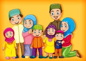 set di personaggi dei cartoni animati di membri della famiglia musulmana vettore