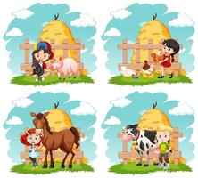 bambini felici e animali da fattoria impostati vettore